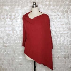 Eileen Fisher Red Knit Wool Poncho One Size